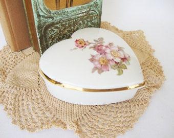 vintage heart trinket box bavarian wild rose gerold porzellan