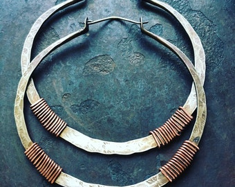 Big Silver Hoops Sterling Silver Hoop Earrings Huge Hoops Wire Wrap Earrings Rustic Hoop Earings Tribal Hoops DanielleRoseBean Silver Hoops