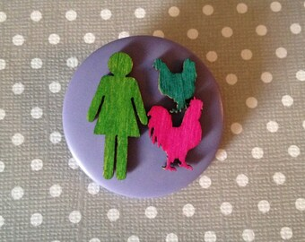 chicken lady button brooch