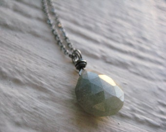 Green Aventurine Necklace- Sterling Silver Oxidized, Wire Wrapped, Chain, Gemstone