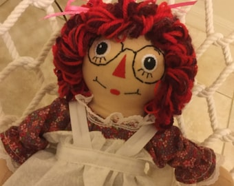 "10"" Raggedy Ann Doll with Eye Glasses- Ready to Ship"