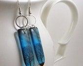 CIJ SALE Tree earrings, resin earrings, approaching darkness earrings, indigo blue, nature, gifts under 20