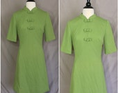 Vintage 60s Green Asian Style Edith Flagg Dress
