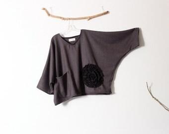 black raw silk flower on purple herringbone wool top over size ready to wear