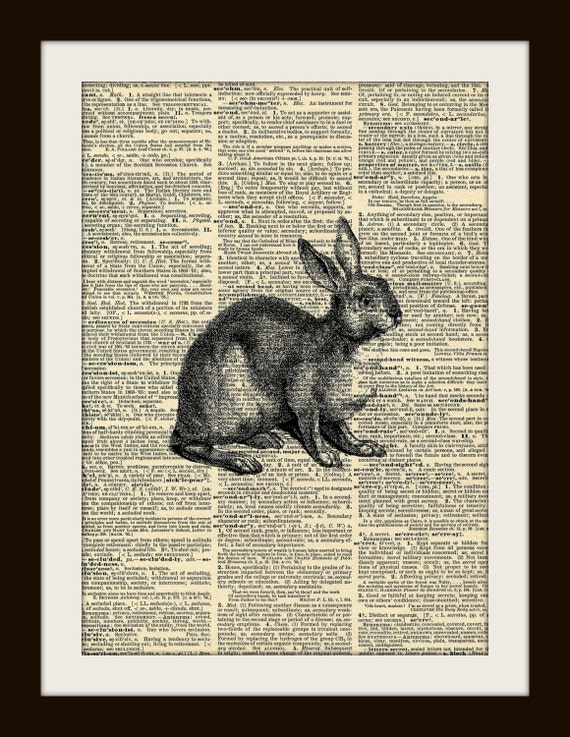 Art Print RABBIT 8x10 Dictionary Gold Gilded Vintage Page
