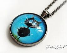 kitten jewelry, cat jewelry, cat necklace, cat lovers, folk art cat, gifts, pendant, blue & black, fashion jewellery, black cats, big eyed