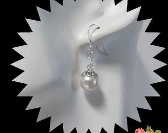 White Pearl Earrings, Swarovski Pearls, Dangle Earrings, Bridesmaid Earrings,  Beaded Earrings,  .925 Sterling Ear Wires #1181