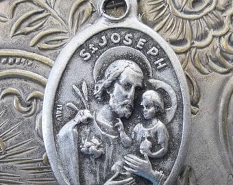 HUGE SALE Sacred Heart Jesus & Saint Joseph Religious Italian Medal Protector Of Fathers, Patron Of Carpenters, Crafters, Holy Catholic Meda