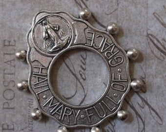 CLEARANCE World War II Era Prayer Tenner Rosary Ring Hail Mary Full Of Grace With Crucifix, With Blessed Virgin Mary Mother Of God