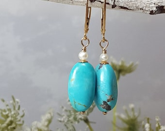 AAA Kingman Turquoise Earrings American Arizona Turquoise Gold Filled