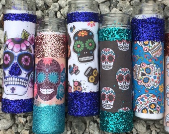 Sugar Skull Tall Candle Holders - Wedding Party Favors 7 Day Prayer Candles Día de Muertos