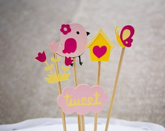 Bird theme cake toppers