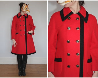 Vintage 60's Mod Red and Black Doublebreasted A-line Wool Dress Coat | Medium Large