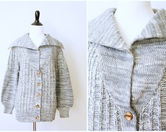 Vintage 70's Gray Oversized Cozy Ribbed Marled Knit Cardigan Sweater with Drop Shoulder and Balloon Sleeves by LeRoy Knitwear | Medium Large