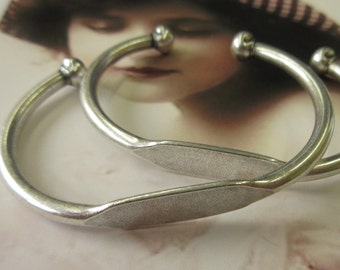 Petite Size Sterling Silver Oxidized Plated Brass Bangle Bracelet with ID Blank 596SOX x1
