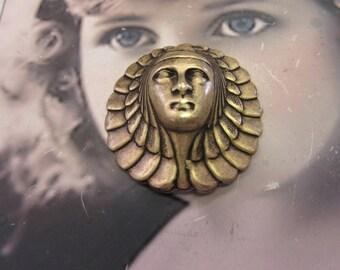 Brass Ox Plated Brass Art Deco Egyptian Woman Head Pendant Stamping 2138BOX x1