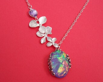 Orchid Cascade With Vintage Lilac Amethyst Pendant Necklace.