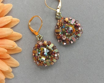 Beadwork Rivoli Earrings, Beadwoven Earrings, Swarovski Crystal and Tila Earrings, Beadweaving, Sage Green Earrings, Beaded, PEACOCK