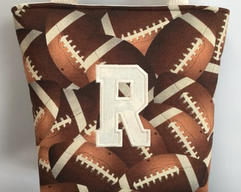 FOOTBALL ... BOY's  Tote ...  ... Child Size  Bag  ...  Ring Bearer .. Baseball, Soccer, Basketball also Available
