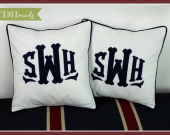 SET OF 2 - The Georgia Applique Monogram Pillow Cover - 16 x 16 square