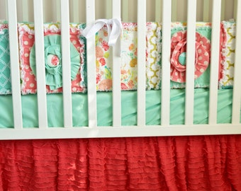 Mint and Coral Crib Bumper - Mint and Coral Nursery Bumper Pad - Mint Nursery Bumper - Baby Girl Nursery Crib Padding- Baby Bedding Coral