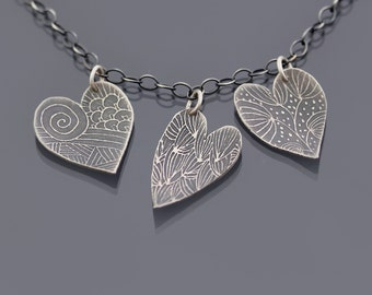 Three Hearts Necklace, etched sterling silver hearts