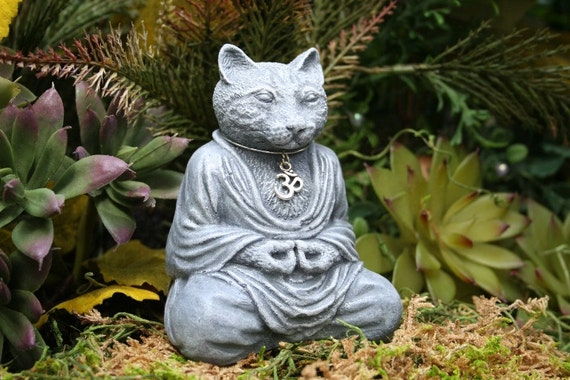 "Cat Buddha Statue Meditate with ""Nirvana"" the Wise Buddah Cat Sculpture"