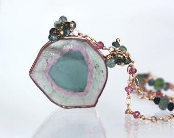 Watermelon Tourmaline Necklace, Tricolor Tourmaline Slice Necklace 14K Solid Gold - ENORMOUS, Rare Collectors Gem