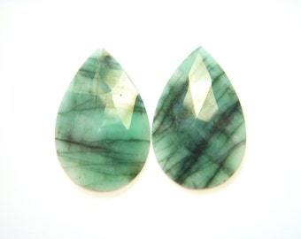 Big Rose Cut Zambian Emeralds - Pair - 17x26mm
