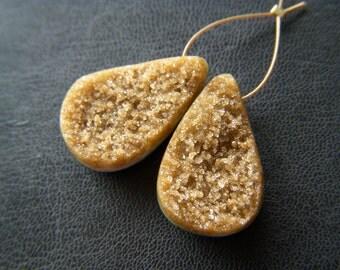 Butterscotch Druzy Drops - Pair - 11.5x18mm