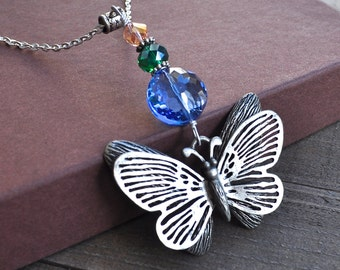 Large Butterfly Necklace Silver Steam Punk Butterflies Art Blue Green & Pink Crystals