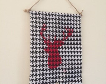 Black and White Houndstooth Hanging Wall Banner with Red Deer
