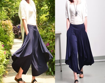 Moon Water - pleated skirt pants / wide leg pants / layering pants (K1661)