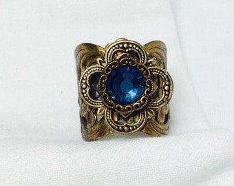 osO AZUL Oso montana blue brass ring