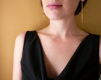 Cascading Long Gold Chain Earrings in Gold Filled