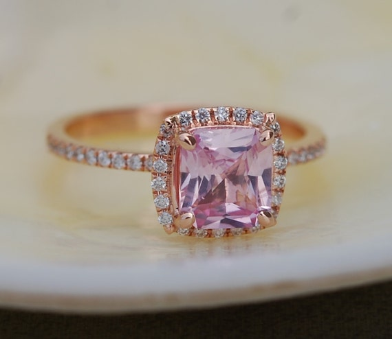 Engagement ring 1.36ct Cushion Pink Peach Champagne Sapphire 14k rose gold diamond  Engagement Ring