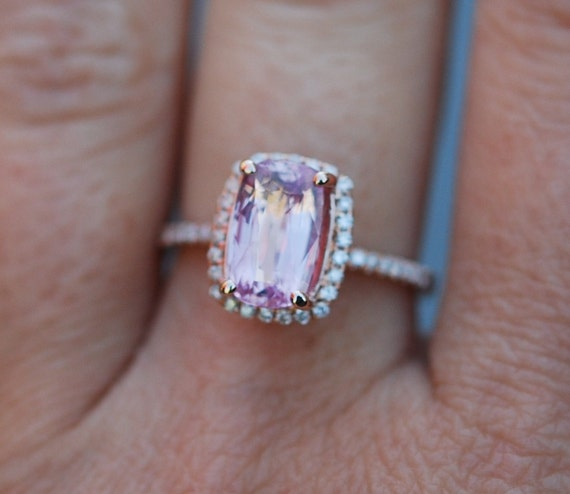 Pink sapphire ring engagement ring 2.75ct Cushion raspberry peach champagne sapphire 14k rose gold diamond ring