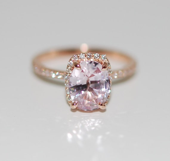Peach Champagne Sapphire Engagement Ring 14k Rose Gold Diamond