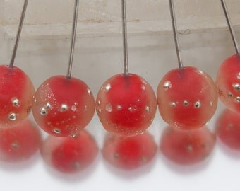 Lampwork headpins - Silvered Nuggets (1) in orange on sterling silver wire. Lampwork by Jennie Yip