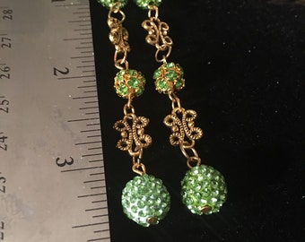 Long Bling Crystal with Vintage Gold Earrings Just in time for St Patrick's and Easter