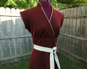 Hand Made Vintage Polyester Maroon/Brown Dress with Off White Trim