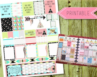 Tribal Girlfriend Quote Weekly Printable Stickers for Erin Condren Life Planner/Happy Planner INSTANT DOWNLOAD