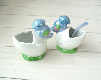 pair of vintage bird egg figural salt servers hand painted Japan lusterware