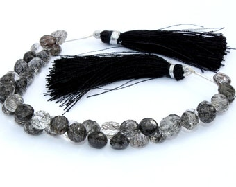 1/2 Strand 4-6mm Natural Black Rutilated Quartz Micro Faceted Onion Briolettes - Gemstone Beads Great Quality Wholesale Price