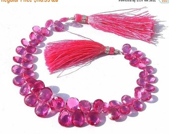 55% OFF SALE Full 8 Inches -- Outrageous AAA Rubelite Pink Quartz Faceted Pear Briolettes Size -7x11 - 12x8mm approx