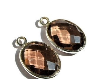 55% OFF SALE 2 Pcs 1 Match Pair 925 Sterling Silver and Aaa Genuine Smoky Quartz Faceted Oval Bezels Size 21x13mm approx