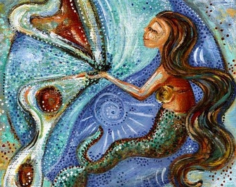 Divine Universe, mermaid and butterfly print