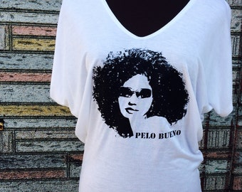 Natural Hair T-shirt, Curly Hair, Pelo Bueno, Good Hair, SMALL, White