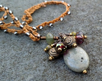 Gray Jasper Necklace, Crochet Silver Bead Necklace, Knotted Tan Cord Beach Jewelry with Brass Beads