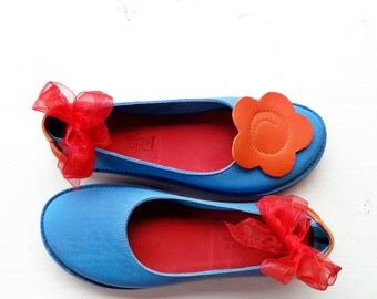 SALE. UK 8, Handmade Womens Leather Fairytale Shoes, BABS Shoes 2984 Summer blue, marmalade
